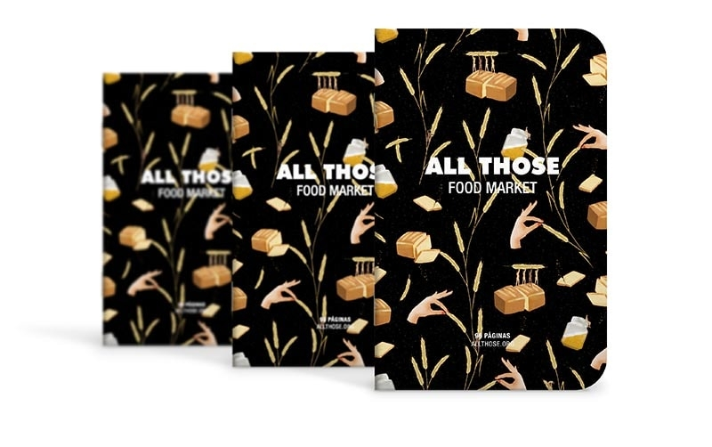 Cuaderno de Bolsillo para All Those Food Market. Diseño Batabasta y producción Imborable