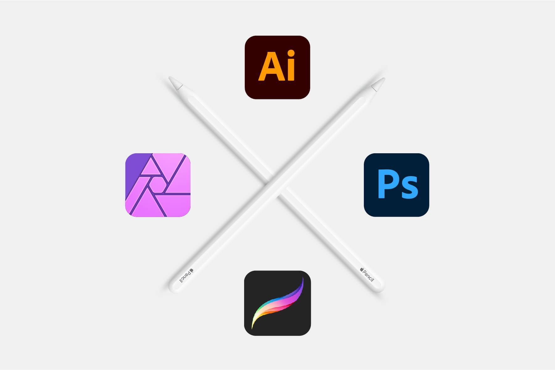 Programas de diseño gráfico Adobe Procreate Affinity Apple Pencil